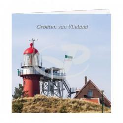 Wenskaart Vuurtoren met Vlielander vlag