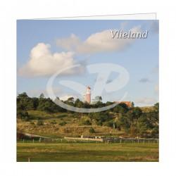 Wenskaart Vlieland Vuurtoren vanaf Wadkant