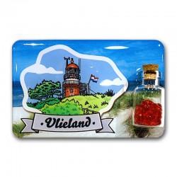 Magneet Doming Vlieland Vuurtoren illustratie Met Flesje Met Hartjes