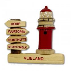 Magneet Hout Vlieland Wegwijzer met Vuurtoren