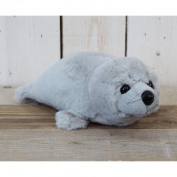 Pluche zeehond liggend grijs 35cm