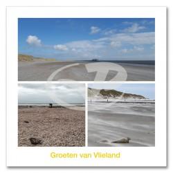 Ansichtkaart 15x15 Strand Vlieland Compilatie